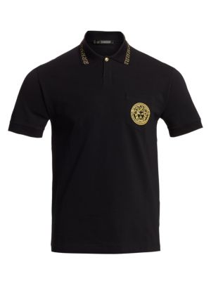 Embroidered Medusa Cotton Polo Shirt in Black