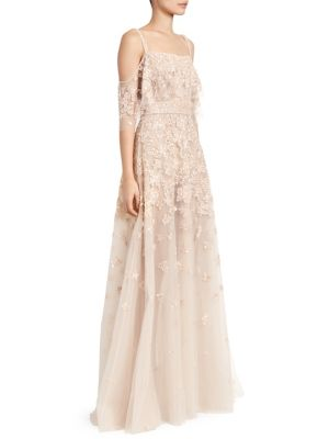 Zuhair Murad Hibiscus Embellished Cold-Shoulder A-Line Gown
