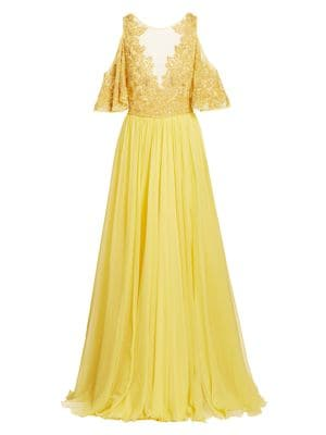 Zuhair Murad Hibiscus Embroidered Cold-Shoulder A-Line Gown