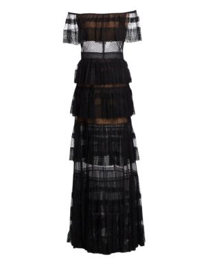 Zuhair Murad Tiered Lace Off-The-Shoulder Gown