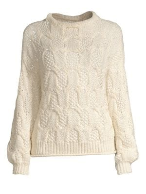 Minava Cable Knit Sweater in Parchment