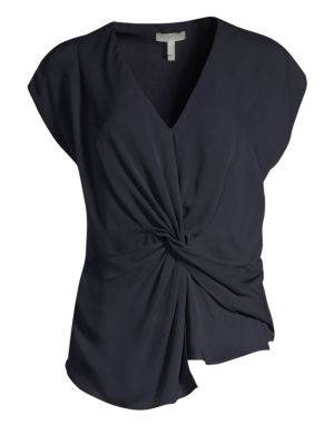 Bosko Silk Knotted Front Top in Midnight-Jfa18 from Joie