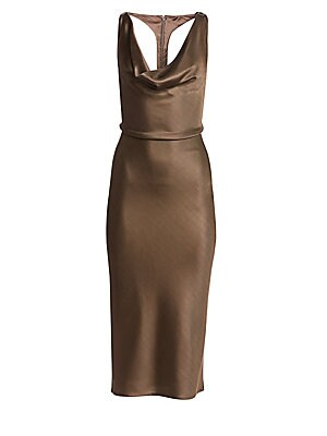 Image of A disco-inspired draped midi dress with a sporty racerback detail for a modern athleisure twist. Constructed in a poured liquid metal finish, it is cut on the bias for a sleek and sexy look. Cowl neck Sleeveless Concealed back zip Racerback Lined Viscose/