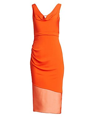 Image of A bold draped dress in a sporty matte jersey construction cut in an elegant asymmetric fitted silhouette. Hints of silk organza reveal themselves at the cowl neckline and the slashed hem for a modern romantic feel. Cowlneck Sleeveless Concealed back zip B