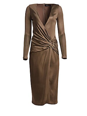 Image of Channel a disco-glam look with this sleek midi in a liquid metallic fabrication. Featuring a draped wrap silhouette and accented with a goldtone ring detail, this dress is ready for a night of dancing. V-neck Long sleeves Concealed back zip with hook & ey