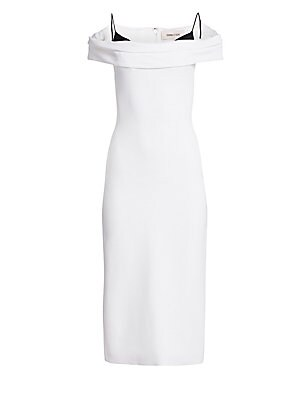 Image of Channel a refined look in this chic midi dress with sophisticated styling. Featuring an off-the-shoulder folded neckline with contrast spaghetti straps for a modern romantic look. Off-the-shoulder neckline with short sleeves Attached spaghetti straps Conc