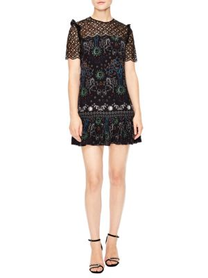 Royal Lions Gouet Embroidered Lace Mini Dress in Black