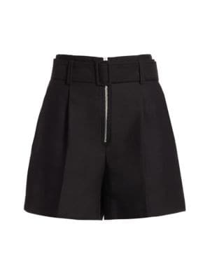 Pleated Zip-Front Shorts in Black