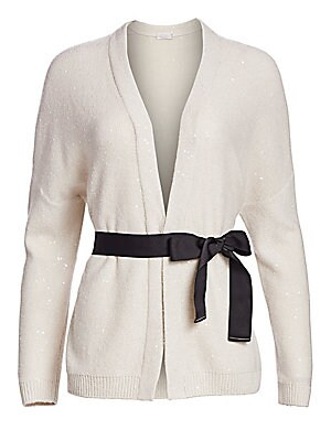 Image of ONLY AT SAKS. This sumptuous wool and silk shawl cardigan flaunts a subdued sequin finish for a bit of dazzle. Designed with a self-tie waist, the statement bow makes this a seriously cozy piece. V-neck Long drop shoulder sleeves Rib-knit cuffs and hem Ho