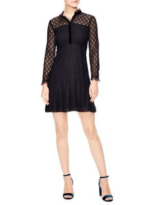 British Mashup Vegetale A-Line Lace Dress in Deep Navy