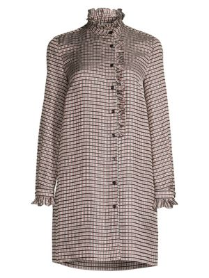 Country Club Music Checked Shirt Dress in Beige