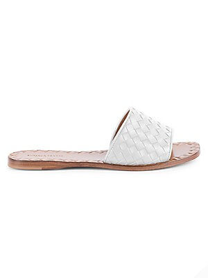Image of A braided metallic strap enhances the luxe-leather look of these comfy slides set on a mini stacked heel. Leather upper Open toe Slip-on style Leather lining Padded insole Rubber sole Made in Italy. Women's Shoes - Designer Womens Shoes. Bottega Veneta. C