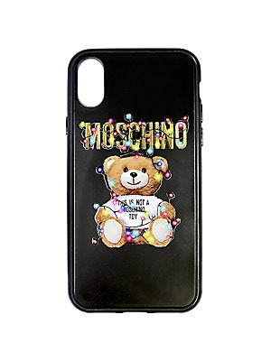 "Image of A charming bear graphic and logo lettering enhance this iPhone X case. Polycarbonate/polyurethane Imported SIZE Fits iPhone X 7.4""W x 3.8""H. Designer Collec - Moschino Signature. Moschino. Color: Black."