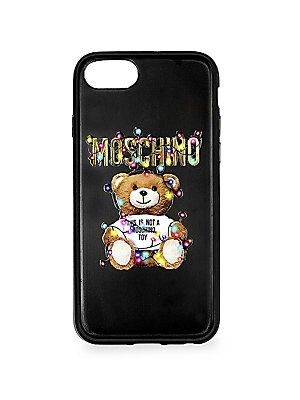 "Image of A charming bear graphic and logo lettering enhance this iPhone 8 case. Polycarbonate/polyurethane Imported SIZE Fits iPhone 8 5.45""W x 2.65""H. Designer Collec - Moschino Signature. Moschino. Color: Black."