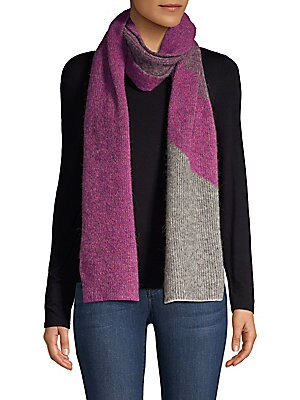 Image of Soft ribbed scarf with ombré stripe detail. Polyamide/acrylic/alpaca/wool/elastane Dry clean Imported SIZE Length, about 74. Soft Accessorie - Cold Weather Accessories. Rag & Bone. Color: Magenta.