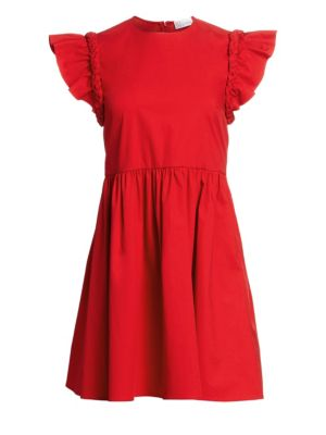 Shoulder Braid Poplin A Line Dress by Red Valentino