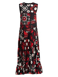 ba200738a6 Terrace Print Pleated Midi Dress BLACK. QUICK VIEW. Product image