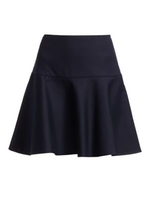Drop Waist Fit-&-Flare Skater Skirt in Navy