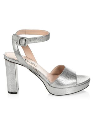 a7f44d276c1b Miu Miu Metallic Leather Platform Sandals