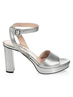 69ccb8bfe3a9 QUICK VIEW. Miu Miu. Metallic Block Heel Platform Sandals