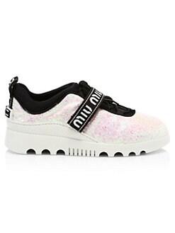 852c96425595 Miu Miu Glitter Logo Platform Sneakers