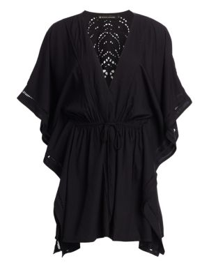 VIX BY PAULA HERMANNY Embroidered Eyelet Drawstring Waist Kimono in Black