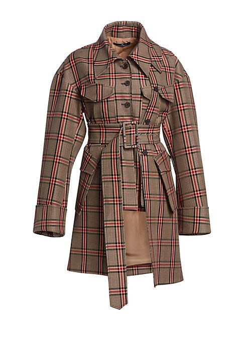 Image of A heritage-inspired check print and glossy tortoise-effect buttons defines this oversized jacket. Remixing the classic styling of a traditional trench coat, this topper features exaggerated cuffs and a notched panelled construction. Point collar. Long sle