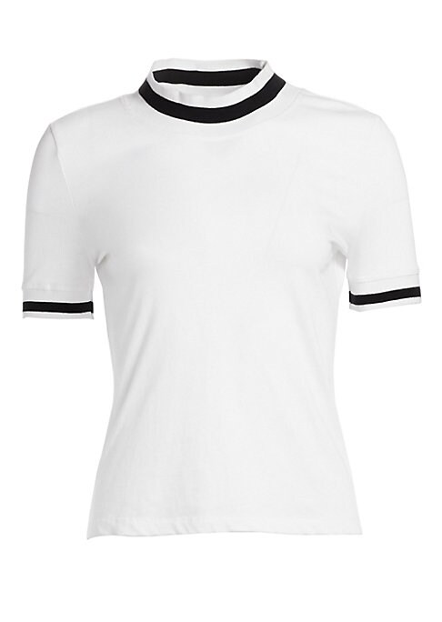 "Image of Cotton tee elevated with striped rib-knit cuffs and collar. Mockneck. Short sleeves with ribbed cuffs. Pullover style. Cotton. Trim: Polyester. Dry clean. Imported. SIZE & FIT. About 22"" from shoulder to hem. Model shown is 5'10"" (177cm) wearing US size S"