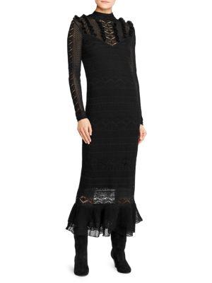 Metallic Pointelle Midi Dress, Black