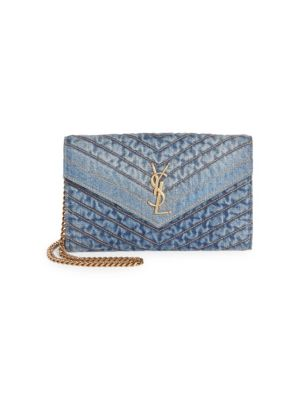 Blue Jeans Wallet On Chain by Saint Laurent