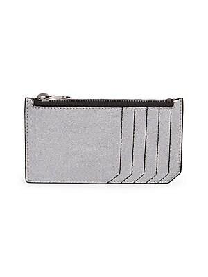 9017336f29af Saint Laurent - Zip Fragment Contrast Stitch Leather Card Case ...