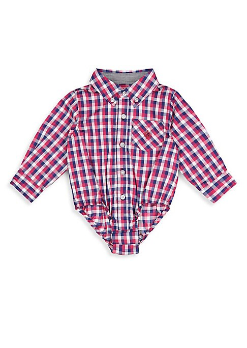 Image of Charming checked cotton bodysuit in a collared button-front style. Point collar. Long sleeves. Button-front. Snap button closure. Cotton. Machine wash. Imported.