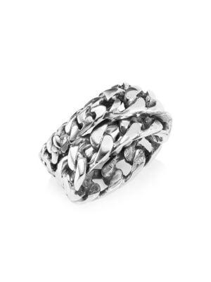 Emanuele Bicocchi Sterling Silver Multi-Chain Ring