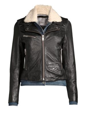 DOMA Denim & Faux Shearling Leather Moto Jacket in Black