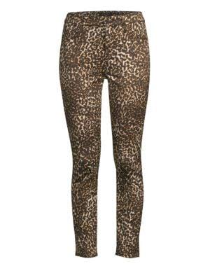Leopard-Print Skinny Ankle Jeans, Shad Chetah