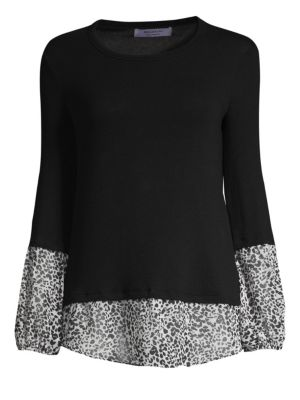 Mixed Media Twofer Shirt Sweater in Black