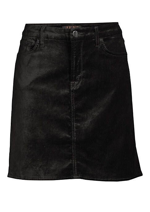 """Image of Essential jean skirt is reimagined in versatile sumptuous velvet you and dress up or down. Belt loops. Five-pocket styling. Cotton/rayon/spandex. Hand wash. Imported. SIZE & FIT. Mini length. Straight silhouette. About 17.5"""" long. Sweep, about 37"""".Model s"""