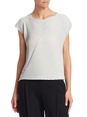 "Image of A silky pleated-allover top with a simplistic yet stylish asymmetric design. Pairs easily with trousers or skirts for a sophisticated look. Scoopneck Cap sleeves Pullover style Lined Polyester Dry clean Made in Japan SIZE & FIT About 22"" from shoulder to"