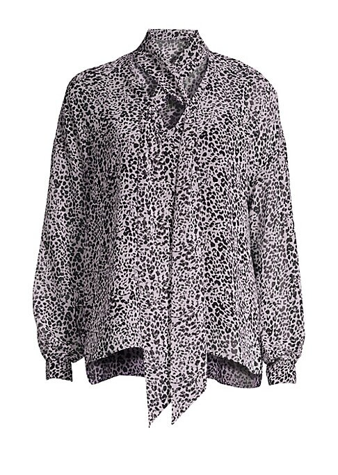 Image of Airy chiffon snake print pull-on blouse designed with a tie front flowing form a keyhole neckline.V-neck with crossover tie front. Long sleeves. Pullover style. Button cuffs. High-low hem. Side hem slits. Lined. Rayon/spandex. Dry clean. Made in USA. SIZE