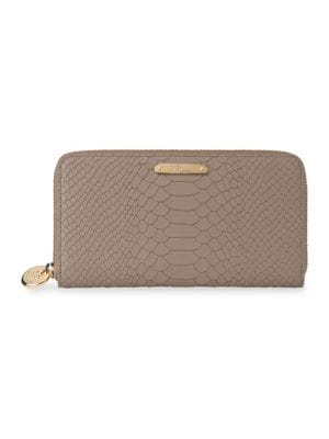 GIGI NEW YORK Large Zip Around Python Leather Wallet in Stone