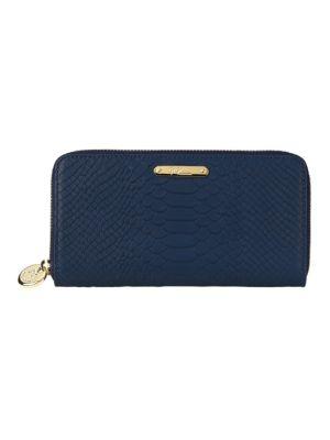 Gigi New York Women's Large Python-embossed Leather Zip-around Wallet In Blue