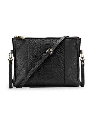 GIGI NEW YORK Hailey Embossed Python Convertible Crossbody Bag in Black