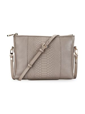 GIGI NEW YORK Hailey Embossed Python Convertible Crossbody Bag in Stone