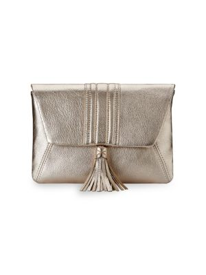 GIGI NEW YORK Ava Leather Clutch in White Gold