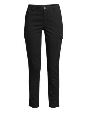 Cotton Slim Cargo Pants - Black Size 8