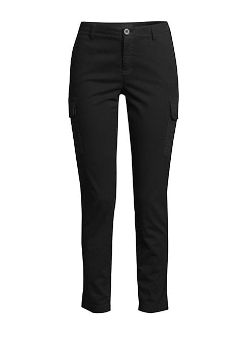 Image of A sleek tailored update to the classic slim-fit ankle-grazing cargo silhouette. Banded waist. Belt loops. Zip fly with button closure. Waist slash pockets. Cargo patch flap pockets. Back welt pockets. Cotton/spandex. Machine wash. Imported. SIZE & FIT. Ri