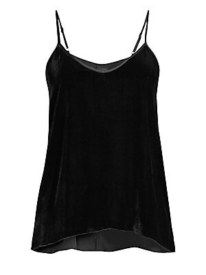 "Image of A construction in oh-so-soft velvet enhances this classic cami silhouette. Scoopneck Adjustable spaghetti straps Pullover style Racerback Viscose/silk Dry clean Imported SIZE & FIT About 27"" from shoulder to hem Model shown is 5'10"" (177cm) wearing a US s"