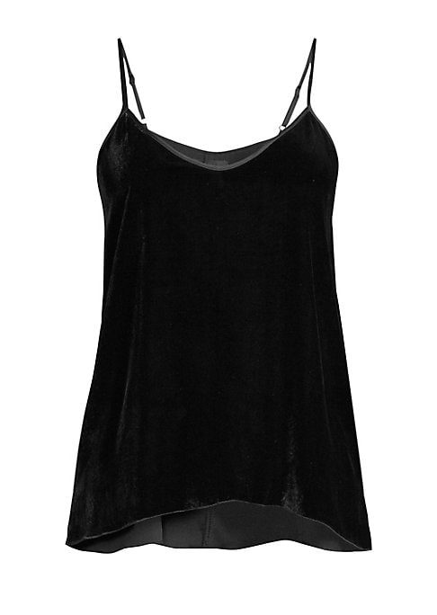 """Image of A construction in oh-so-soft velvet enhances this classic cami silhouette. Scoopneck. Adjustable spaghetti straps. Pullover style. Racerback. Viscose/silk. Dry clean. Imported. SIZE & FIT. About 27"""" from shoulder to hem. Model shown is 5'10"""" (177cm) weari"""
