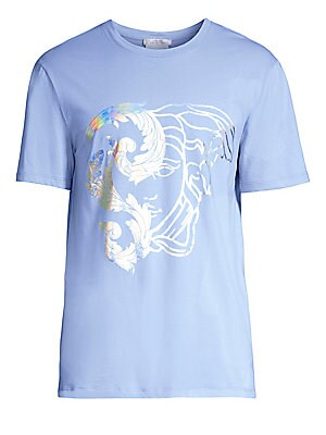 "Image of A metallic hologram graphic accents this lightweight cotton tee. Roundneck Short sleeves Pullover style Cotton Dry clean Imported SIZE & FIT Classic fit About 27"" from shoulder to hem. Men Modrn Dsgn - Versace. Versace Collection. Color: Azzurro Stampa. S"