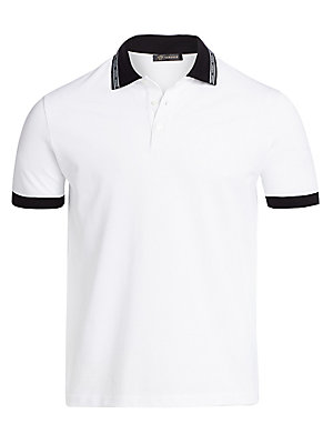 """Image of Colorblock polo shirt with logo printed collar. Spread collar Short sleeves Three button-front Pullover style Cotton Hand wash Made in Italy SIZE & FIT Classic fit About 30"""" from shoulder to hem. Men Modrn Dsgn - Versace. Versace. Color: White. Size: Smal"""